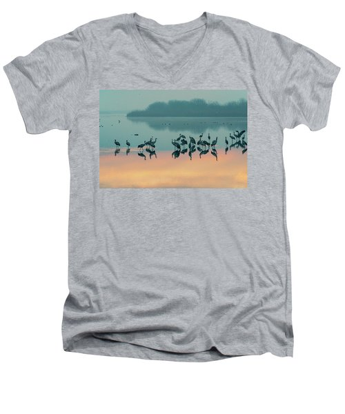 Sunrise Over The Hula Valley Men's V-Neck T-Shirt