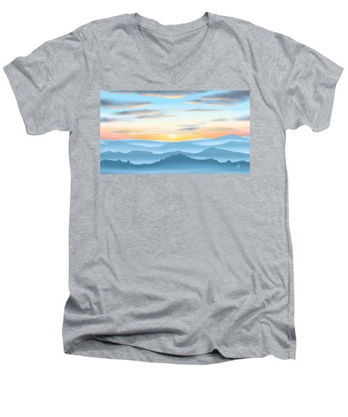 Men's V-Neck T-Shirt featuring the painting Sunrise by Veronica Minozzi