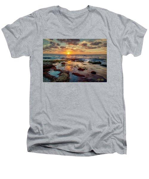 Men's V-Neck T-Shirt featuring the photograph Sunset At La Jolla  by Rikk Flohr