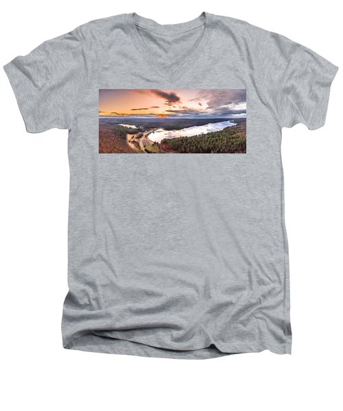 Sunset At Saville Dam - Barkhamsted Reservoir Connecticut Men's V-Neck T-Shirt by Petr Hejl