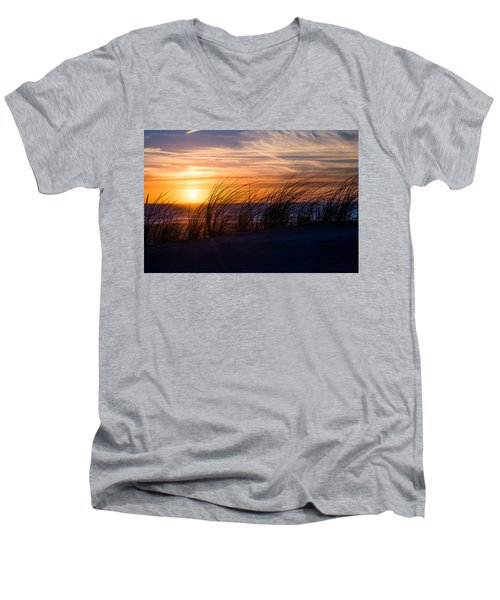Men's V-Neck T-Shirt featuring the photograph sunset at the North Sea by Hannes Cmarits