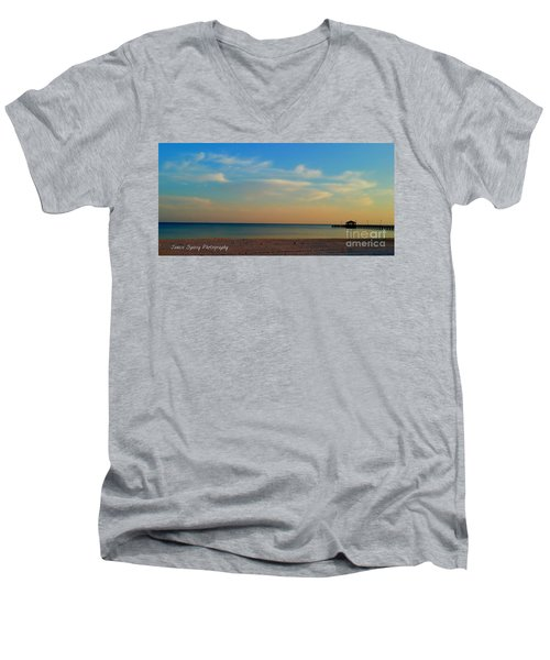 Sunset Men's V-Neck T-Shirt by Janice Spivey