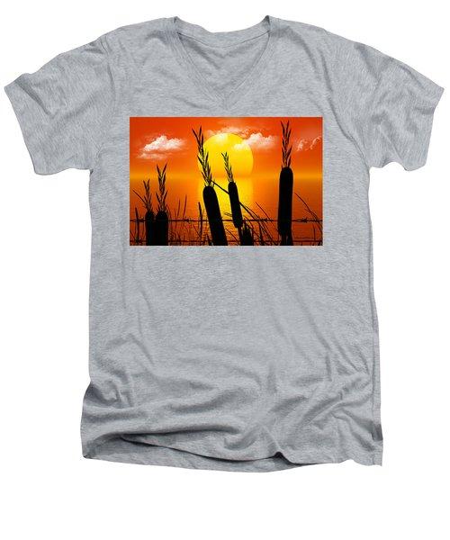 Sunset Lake Men's V-Neck T-Shirt by Robert Orinski