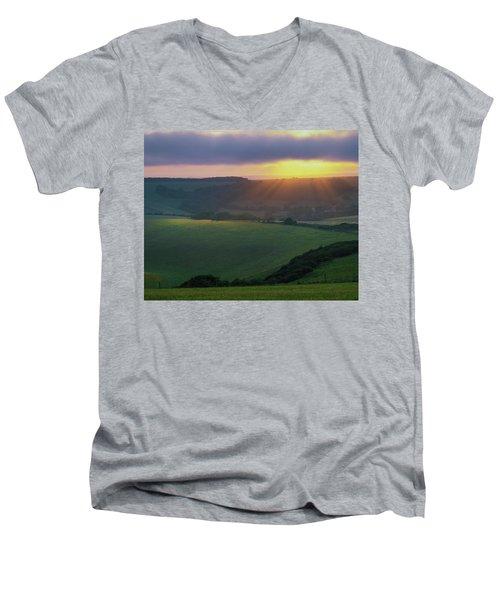 Sunset Over The South Downs Men's V-Neck T-Shirt