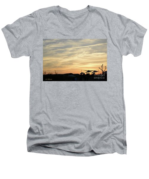 Sunset View Men's V-Neck T-Shirt by Arik Baltinester