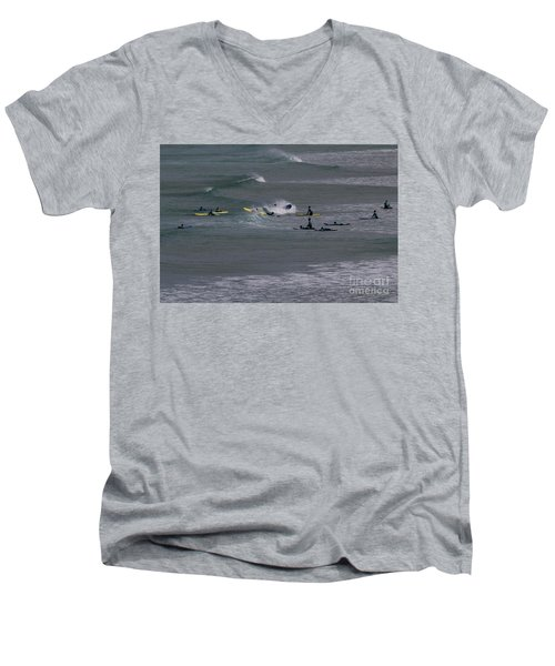 Men's V-Neck T-Shirt featuring the photograph Photographs Of Cornwall Surfers At Fistral by Brian Roscorla