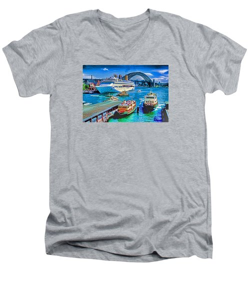 Sydney Quay Men's V-Neck T-Shirt by Dennis Cox WorldViews