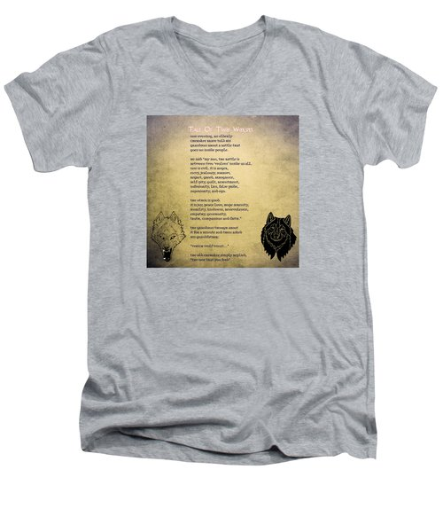 Tale Of Two Wolves - Art Of Stories Men's V-Neck T-Shirt by Celestial Images