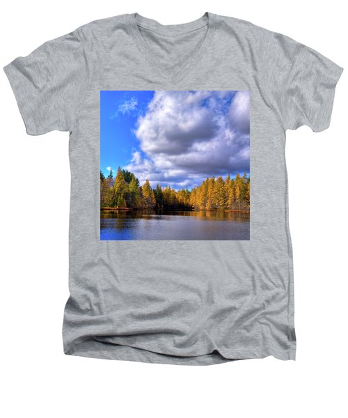 Men's V-Neck T-Shirt featuring the photograph Tamaracks At Woodcraft Camp by David Patterson