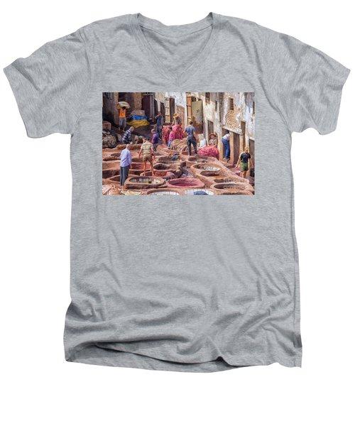 Tannery In Fez Men's V-Neck T-Shirt by Patricia Hofmeester