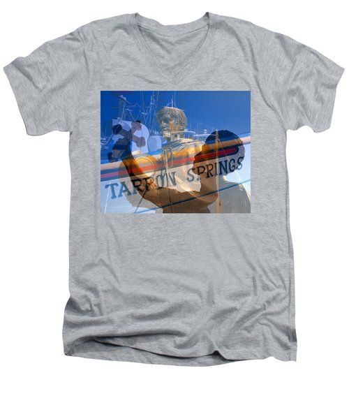 Men's V-Neck T-Shirt featuring the photograph Tarpon Springs Florida Mash Up by David Lee Thompson
