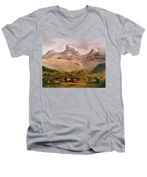 Tetons From The West Men's V-Neck T-Shirt by Larry Hamilton