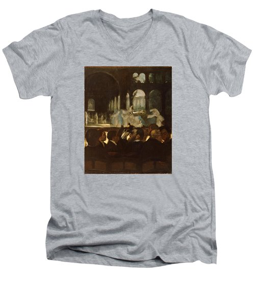 Men's V-Neck T-Shirt featuring the painting The Ballet From Robert Le Diable by Edgar Degas