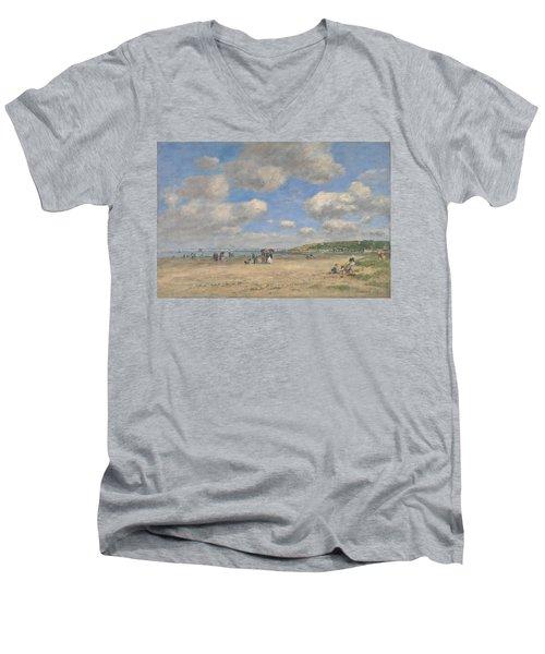 The Beach At Tourgeville Les Sablons Men's V-Neck T-Shirt