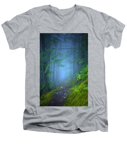Men's V-Neck T-Shirt featuring the photograph The Forest Blues by Tara Turner