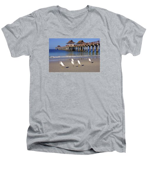 Men's V-Neck T-Shirt featuring the photograph The Historic Naples Pier by Robb Stan