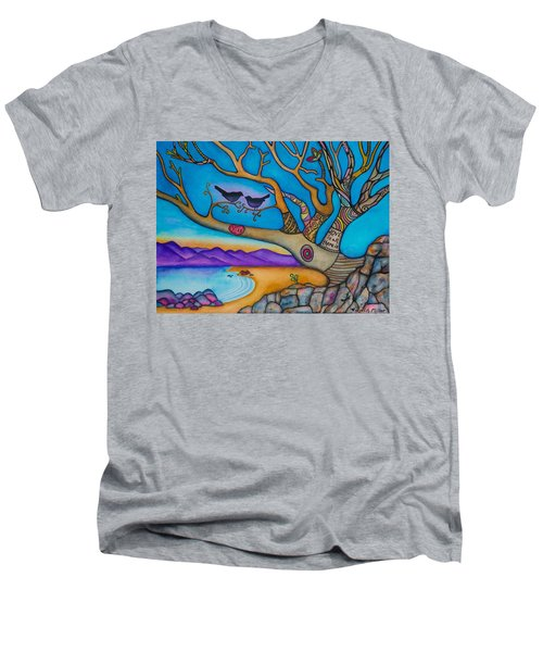 The Kiss And Love Is All There Is Men's V-Neck T-Shirt by Lori Miller