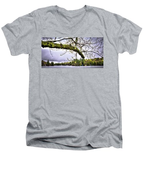 The Pond In Old Forge Men's V-Neck T-Shirt by David Patterson