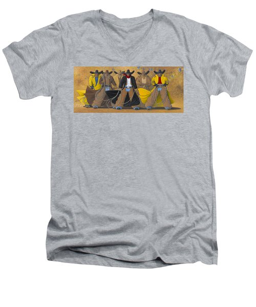 Men's V-Neck T-Shirt featuring the painting The Posse by Lance Headlee