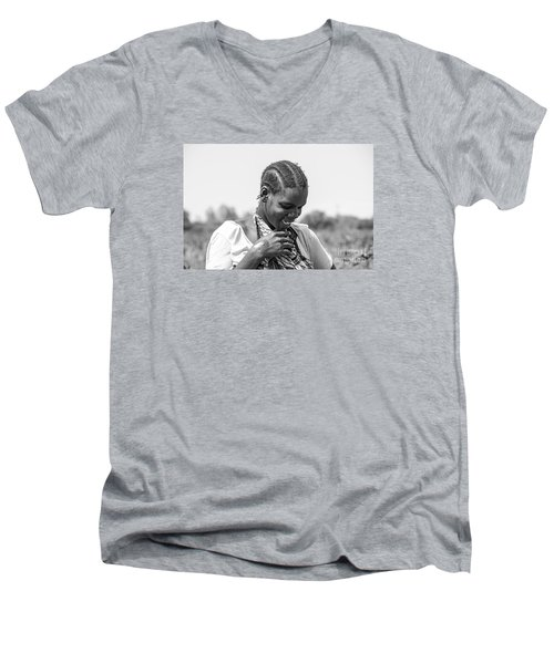 Men's V-Neck T-Shirt featuring the photograph The Shy One by Pravine Chester