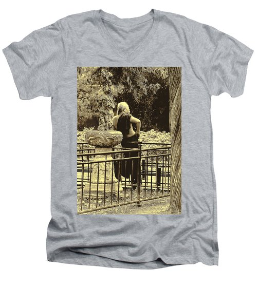 The Thinker Men's V-Neck T-Shirt by Patrick Kain