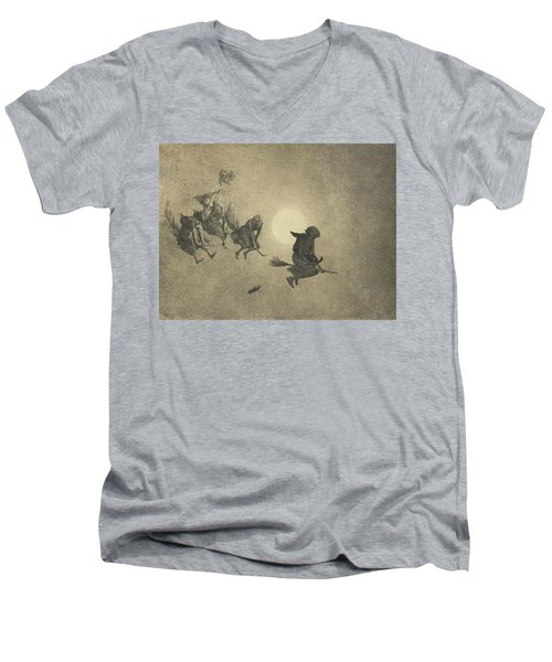 The Witches' Ride Men's V-Neck T-Shirt