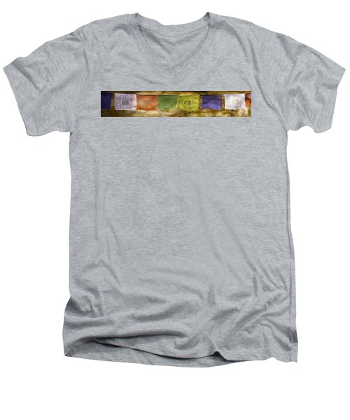 Tibetan Prayer Flags Men's V-Neck T-Shirt