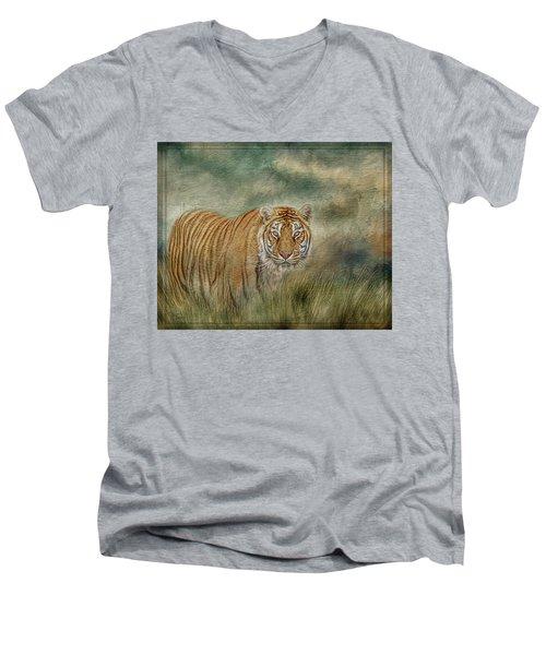 Tiger In The Grass Men's V-Neck T-Shirt