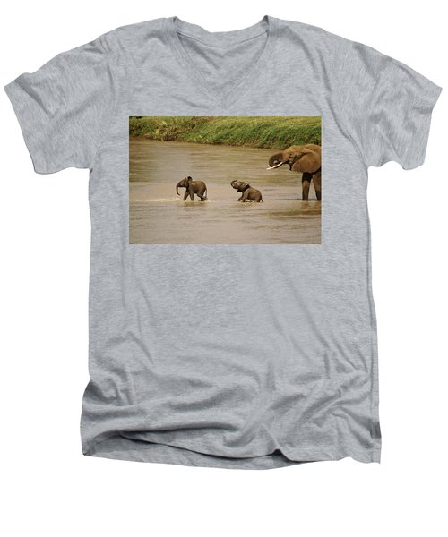 Tiny Elephants Men's V-Neck T-Shirt