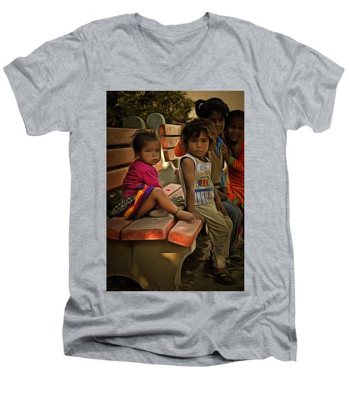 Men's V-Neck T-Shirt featuring the digital art Togetherness by Bliss Of Art