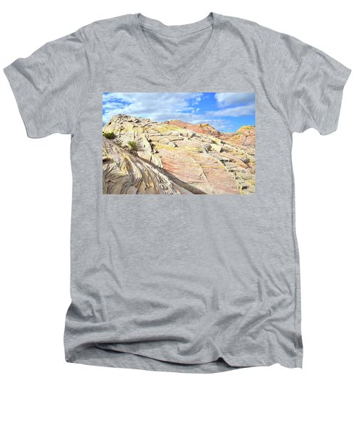 Top Of The World At Valley Of Fire Men's V-Neck T-Shirt by Ray Mathis