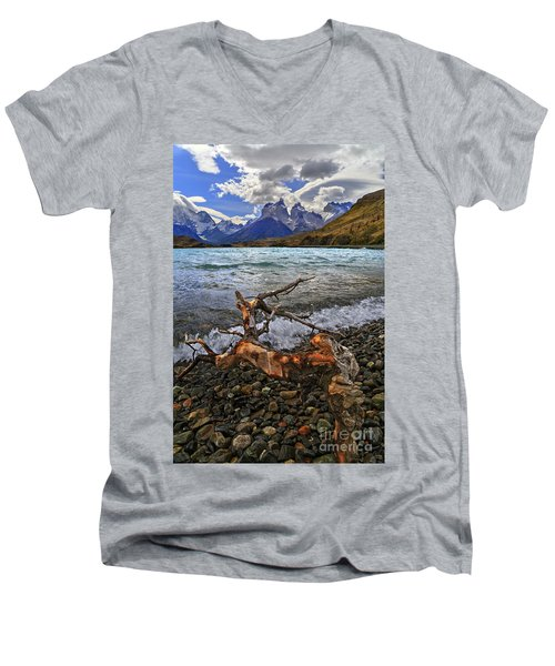 Torres Del Paine 17 Men's V-Neck T-Shirt by Bernardo Galmarini