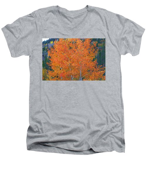 Men's V-Neck T-Shirt featuring the digital art Translucent Aspen Orange by Gary Baird