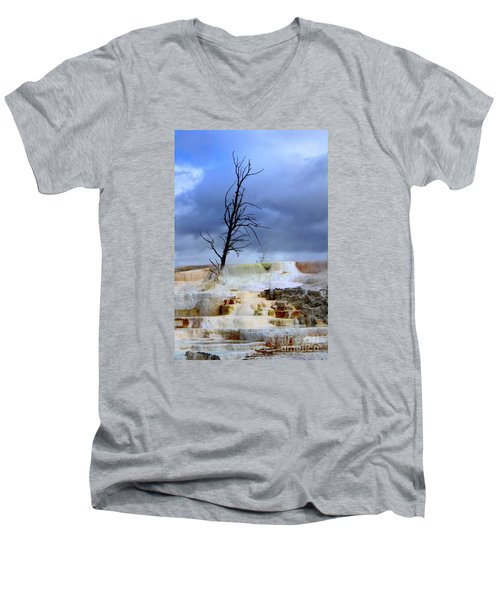 Men's V-Neck T-Shirt featuring the photograph Travertine Terraces by Irina Hays