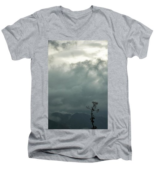 Tree And Mountain  Men's V-Neck T-Shirt