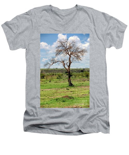 Men's V-Neck T-Shirt featuring the photograph Tree by Charuhas Images