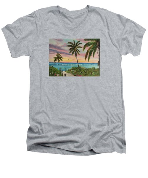 Tropical Paradise Men's V-Neck T-Shirt by Lloyd Dobson
