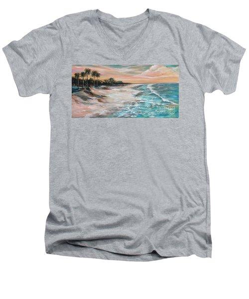 Tropical Shore Men's V-Neck T-Shirt by Linda Olsen