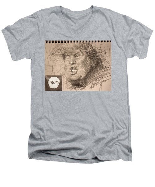 Trump Men's V-Neck T-Shirt by Ylli Haruni