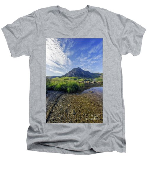 Tryfan Mountain Men's V-Neck T-Shirt by Ian Mitchell