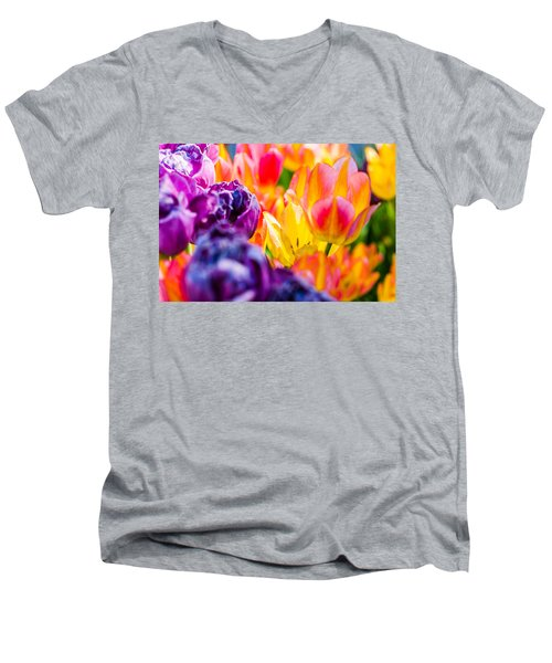 Men's V-Neck T-Shirt featuring the photograph Tulips Enchanting 39 by Alexander Senin
