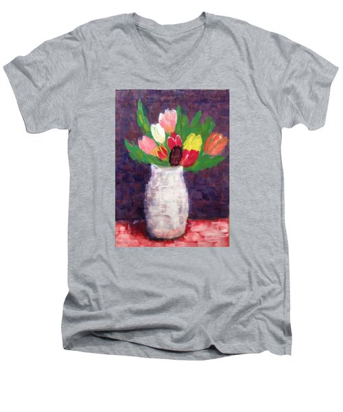 Tulips Men's V-Neck T-Shirt by Tamara Savchenko
