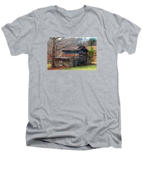 Tumbledown Barn Men's V-Neck T-Shirt by Kathryn Meyer