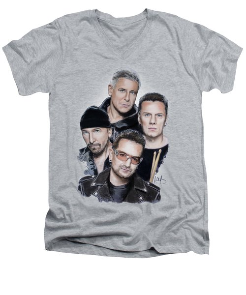 U2 Men's V-Neck T-Shirt by Melanie D