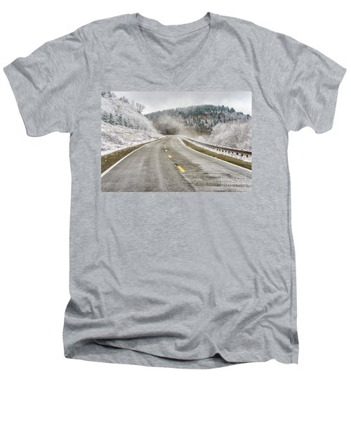 Men's V-Neck T-Shirt featuring the photograph Unexpected Autumn Snow Highland Scenic Highway by Thomas R Fletcher