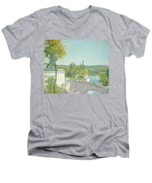 U.s. Thread Company Mills, Willimantic, Connecticut Men's V-Neck T-Shirt