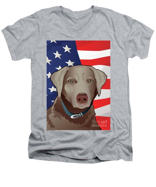 Usa Silver Lab Men's V-Neck T-Shirt