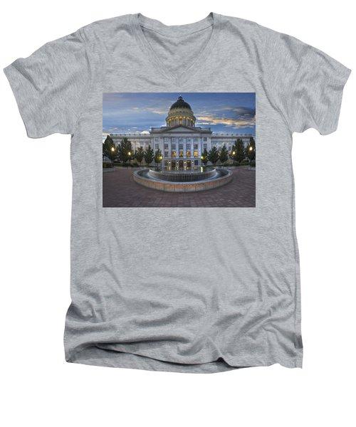 Utah State Capitol Building Men's V-Neck T-Shirt by Utah Images