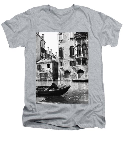 Men's V-Neck T-Shirt featuring the photograph Venice Canal, 1969 by Granger