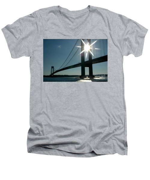 Verrazano Bridge Starburst Men's V-Neck T-Shirt